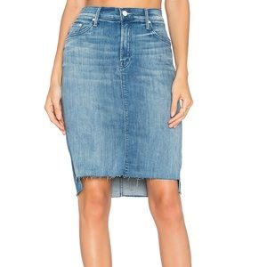 MOTHER | Blue high low jean skirt